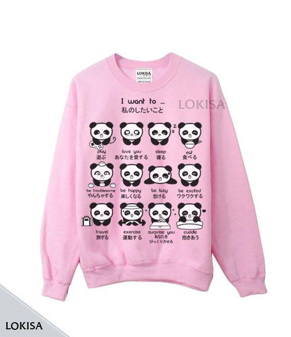 Japanische Panda Emoticons Rundhals Sweatshirt von LokisaFashion