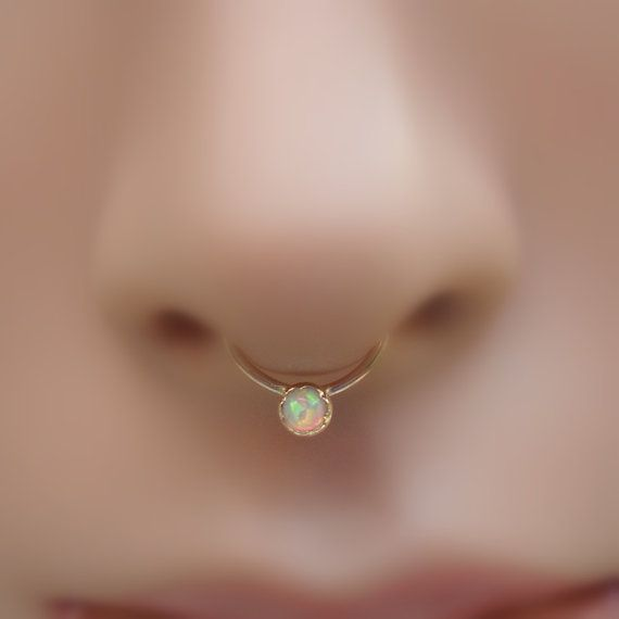 White Opal Opal Septum Ring/Nose ring 14K Solid Yellow Gold Handcrafted