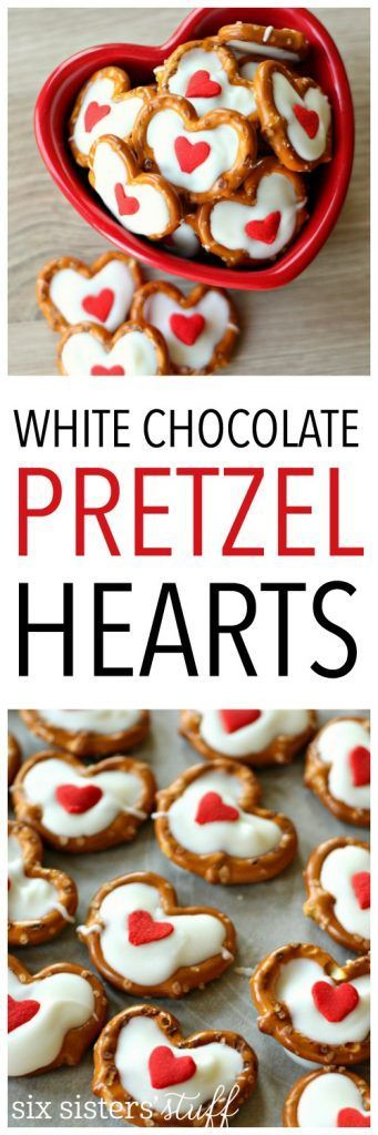 White Chocolate Pretzel Hearts from SixSistersStuff.com   These little treats are easy to make and a fun project to do with your kids! We love making a big batch to give to teachers or neighbors for Valentine's day dessert.