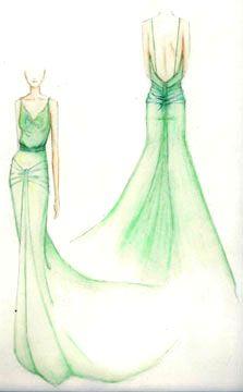 """Croqui do Vestido para o filme """"Desejo e Reparação"""" usado pela personagem Cecilia Tallis, interpretado pela atriz Keira Knightley."""
