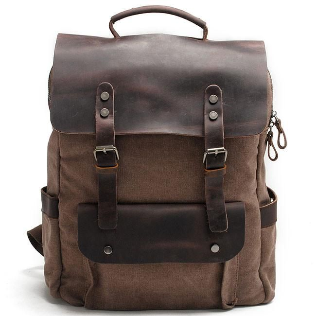 Retro Large Thick Canvas Travel Bag Rucksack Splicing Leather Camping  Backpack 990829fd87