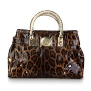 Versace Leopard Printed Patent Leather Top Handle Bag - Coffee