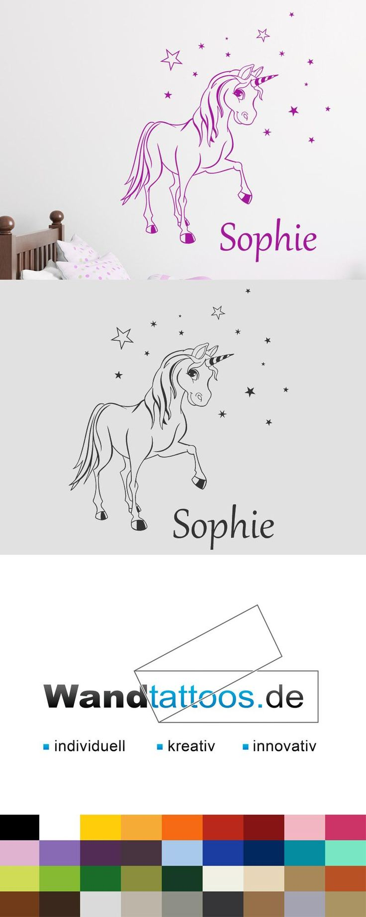 Wandtattoo Zauber Pony mit Wunschname als Idee zur individuellen Wandgestaltung. Einfach Lieblingsfarbe und Größe auswählen. Weitere kreative Anregungen von Wandtattoos.de hier entdecken!