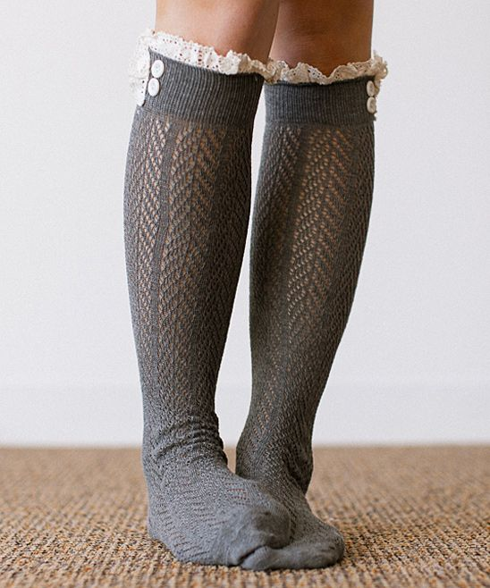Gray boot socks with lace