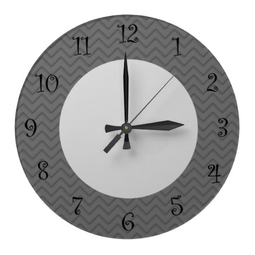 Designer wall decor clock with minimalist design that includes a grey zigzag pattern, and cream colored clock face with modern styled numbers. Designed for any kitchen, bathroom, dining area, or bedroom to decorate in modern style.