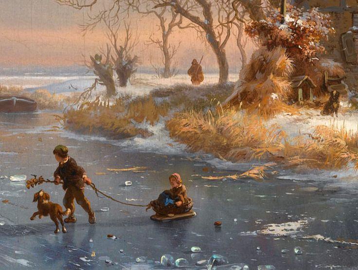 "Fredrik Marinus Kruseman ""A winter landscape with skaters on a frozen river"" 1867 (detail)"