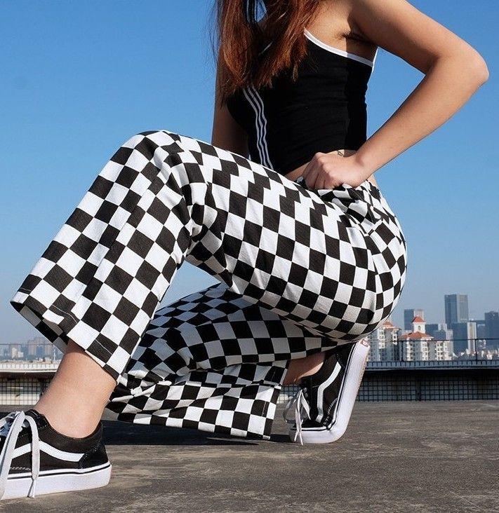 Checkerboard High Waist Plaid Trousers – #fashion #trousers #pants #checkerboard