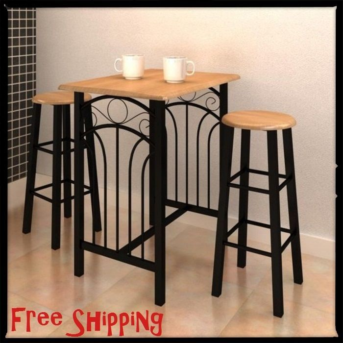 Breakfast Table Kitchen Space Saver Table And 2 Chairs Set Dining Small Furnitur