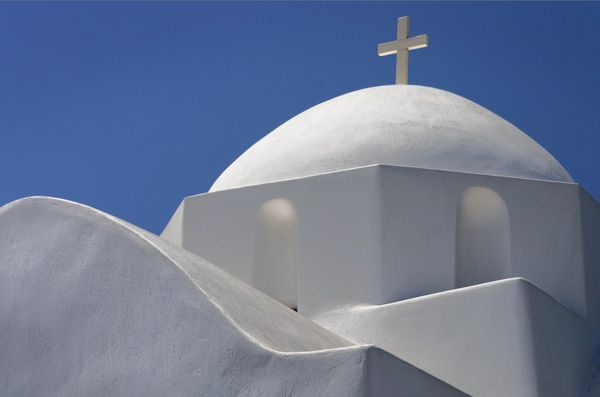 White church in Marmara, Paros
