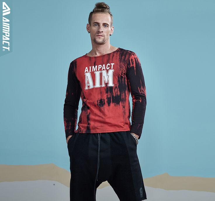 Aimpact 2017 Cotton Starry Sky Mens T-Shirts Tie Dye Long Sleeve T shirt Men Fashion Fitness Funny Tshirt Brand Clothing AM3004