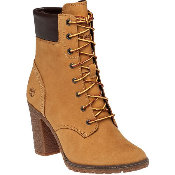 TIMBERLAND Glancy Wheat Suede Lace-Up Boot ($130) ❤ liked on Polyvore featuring shoes, boots, ankle boots, wheat, suede lace up boots, laced ankle boots, lace up ankle boots and bootie boots