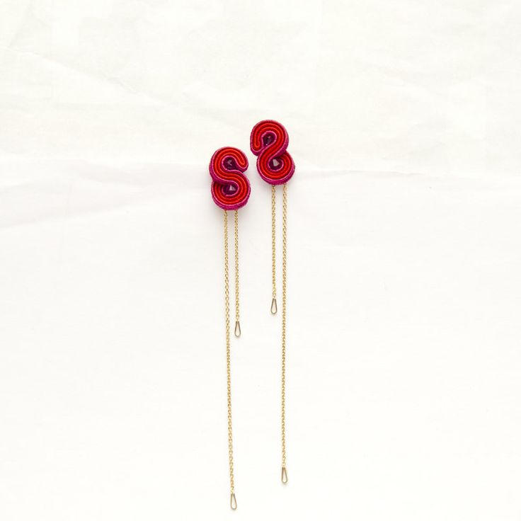Fuchsia Red chain earrings-minimalist ruby by MANJApl on Etsy
