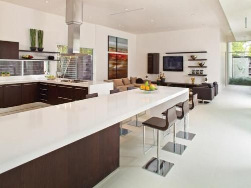 Bright white and brown kitchen