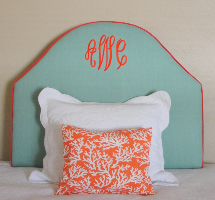 Monogrammed headboard - sea glass blue and coral