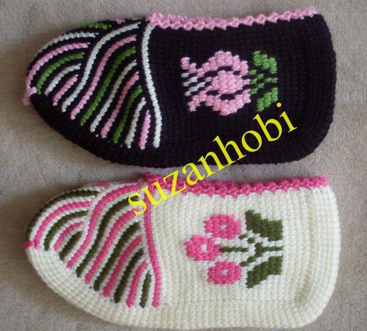 A 231 ıklamalı Tunus İşi Patik Modeli Crochet Knitting 246 Rg 252