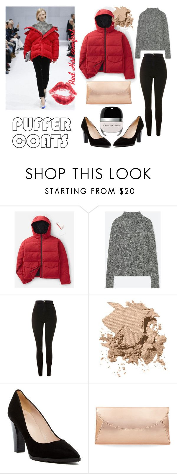 Red Hot Comfort with Puffer Coats by paisleyvelvetandlace on Polyvore featuring Uniqlo, Everlane, Topshop, André Assous, Steve Madden, Bobbi Brown Cosmetics, Marc Jacobs and puffercoats