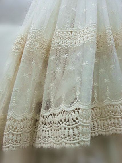 Ivory Lace Fabric, Embroidered Tulle Lace Fabric, Vintage Lace Fabric,  Antique Bridal Lace