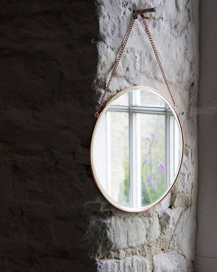 Hanging Mirror on Chain with Round Copper Frame, Small | Free Delivery
