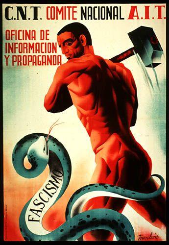 Spanish Civil War.    Confederación Nacional del Trabajo (Anarchist) counter-propaganda. #Spain #war #poster