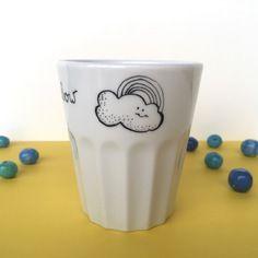 Bicchiere da osteria in ceramica bianca con scritta no rain no rainbow - nigutindor -