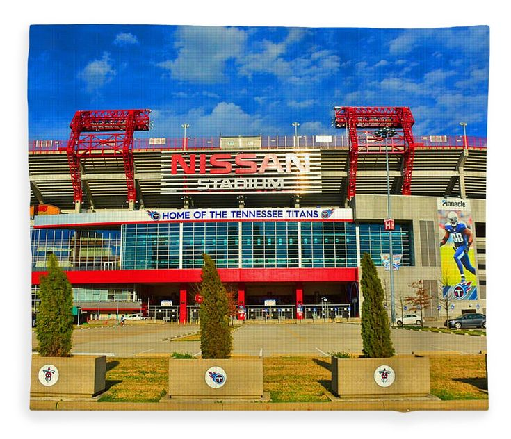 """Nissan Stadium Home Of The Tennessee Titans Fleece Blanket (50"""" x 60"""") by Lisa Wooten.  Our luxuriously soft throw blankets are available in two different sizes and feature incredible artwork on the top surface.  The bottom surface is white."""