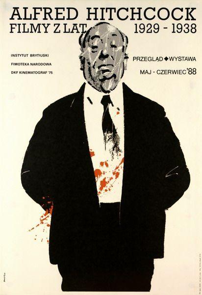 """Waldemar Świerzy, """"Alfred Hitchcock"""", źródło: Galeria Plakatu BUW"""