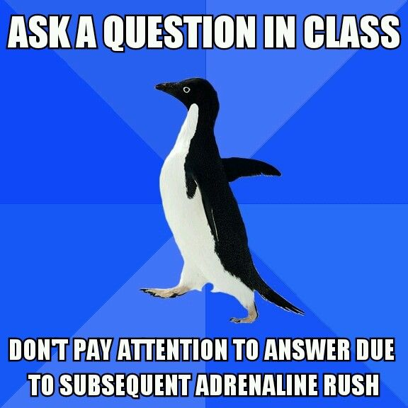 Socially Awkward Penguin - I literally did this in high school!!