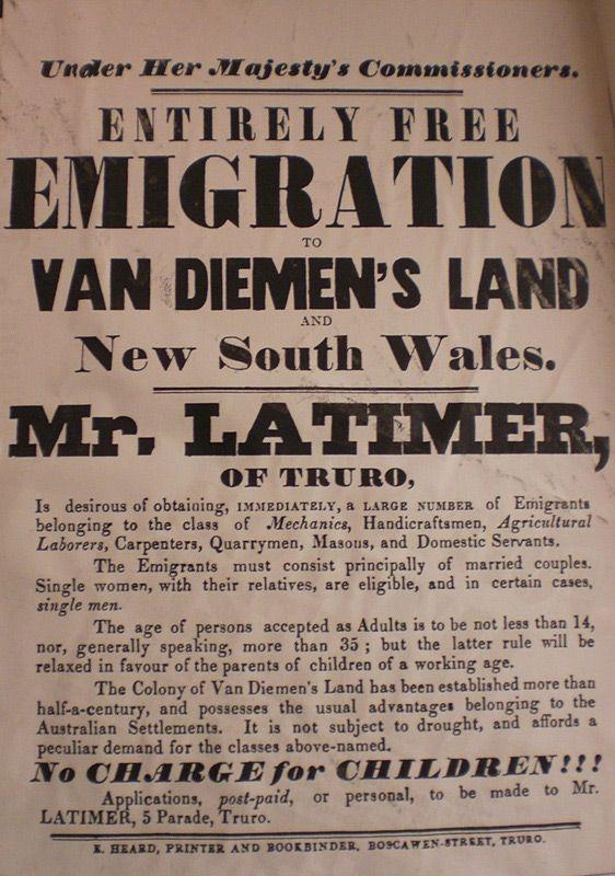 Free emigration to Van Diemen's Land poster. Often bounty schemes targeted specific population groups, such as unmarried women, mechanics, Irish domestics.