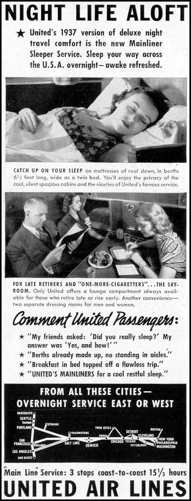 "United Airlines ""Night Life Aloft"" print ad for Life Magazine (1937)"