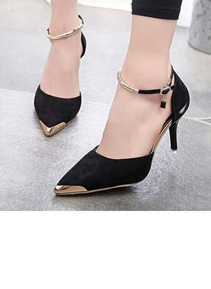 Women's Pumps Closed Toe Stiletto Heel Suede Shoes - Floryday @ floryday.com