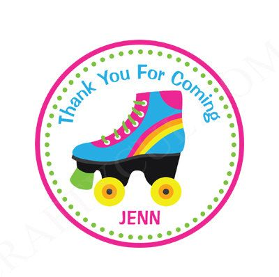 Roller Skate Goody Bag Tags Roller Skating Favor Tags by CraftyCue