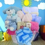 PAMPERING MOM, WELCOMING BABY! BABY BOY GIFT BASKET