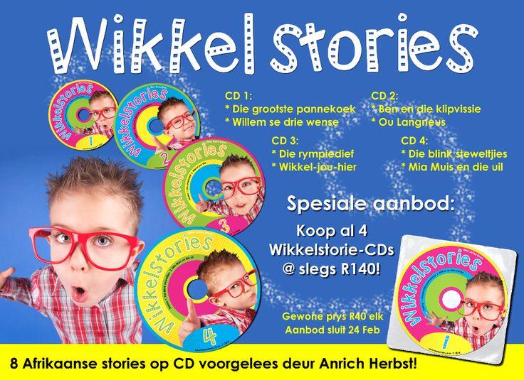 Wikkelstories voorgelees op CD deur Anrich Herbst!  Splinternuwe Afrikaanse luisterstories deur Anna Emm.  www.AnnaEmm.co.za