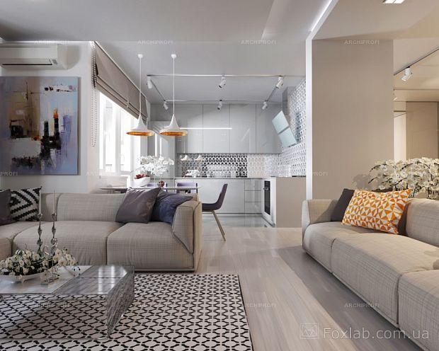 Интерьер Фото 03.08.2016/540535 Дизайн проект для квартиры 65 м2 с небольшим бюджетом от Студии интерьеров FoxLab_interior. Гостиная Современная Foxlab Interior