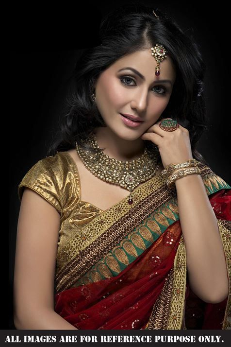 Hina Khan Maroon Replica Saree