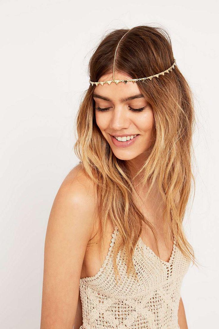 Chaîne pour les cheveux avec triangle doré