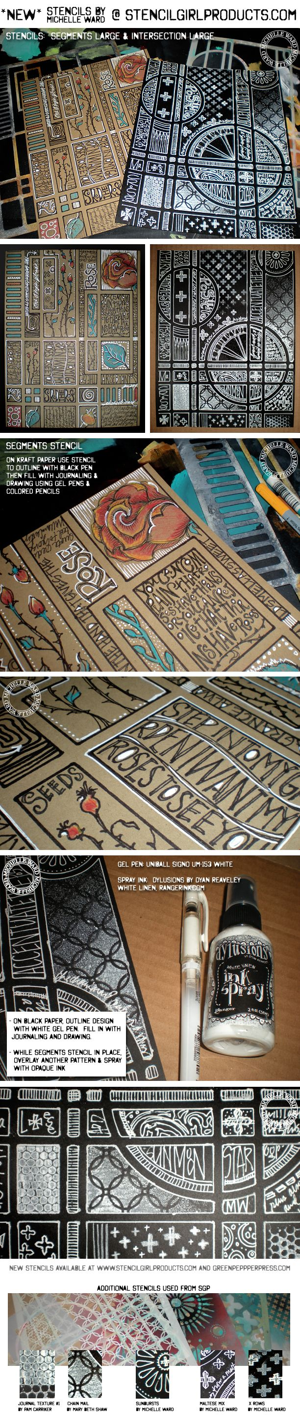 Stencil projects by Michelle Ward with her designs from StencilGirl Products.