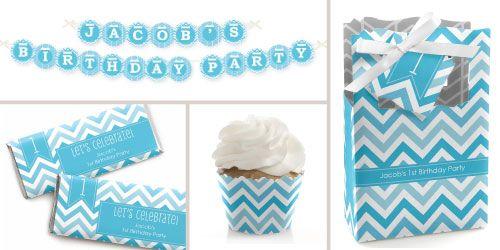 Chevron Blue Birthday Party Theme