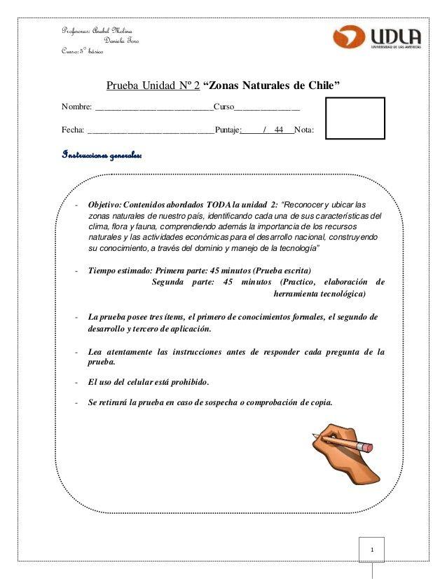 Profesoras: Anabel Molina  Daniela Toro  Curso: 5° básico  1  Prueba Unidad Nº 2…
