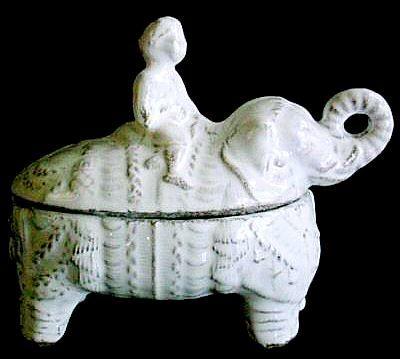 Astier de Villatte ceramics. A two-piece decorative tiny piece for all those elephant lovers. Hillsley/Hood French. 215-840-5607.