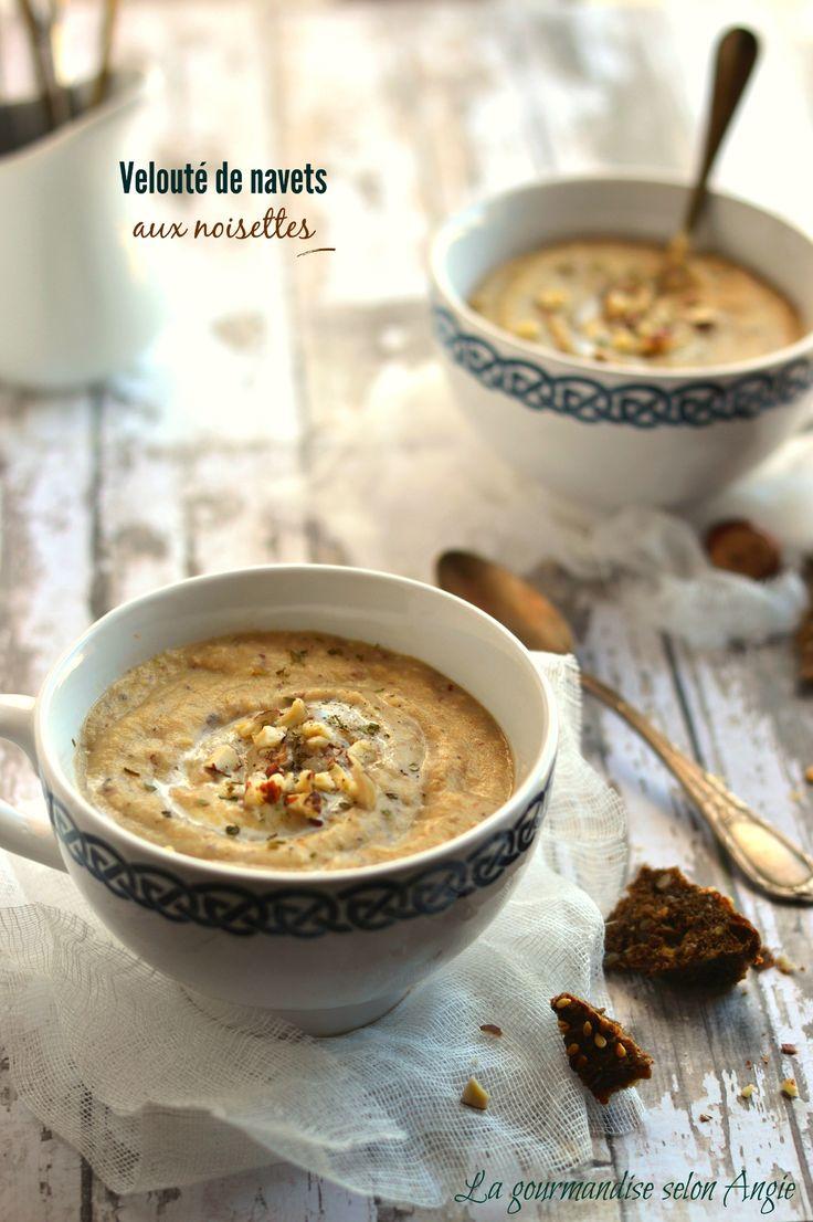 recette de soupe - velouté de navets aux noisettes vegan