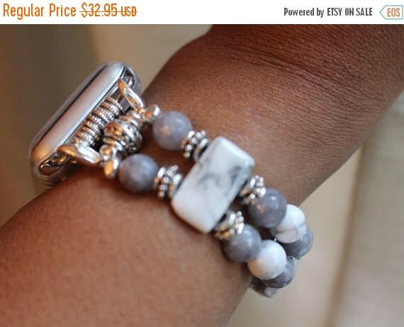On Sale Ends Monday PM Apple Watch Band, Watch band for Apple Watch, Apple Watch 38, Apple Watch 42, White and Gray Howlite Watch Band, Bead by jewelrysldesigns on Etsy https://www.etsy.com/listing/491815606/on-sale-ends-monday-pm-apple-watch-band