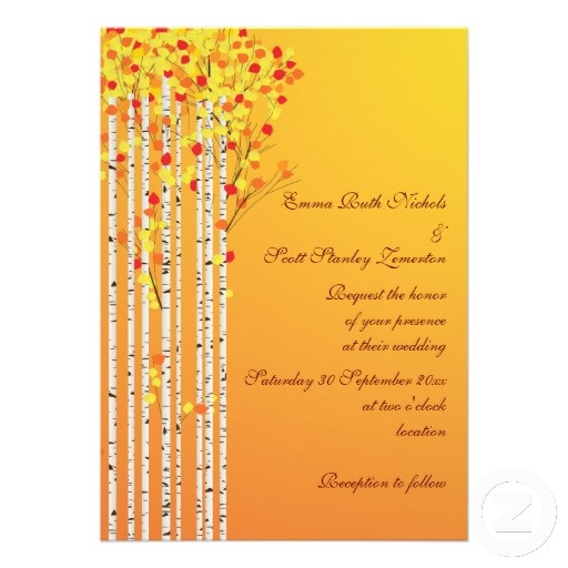 #Birch #trees in #fall colors #custom  #wedding #invitation with #yellow, #orange, #red #leaves and #white #bark, part of a wedding set. #weddings, #bride, #fallwedding, #autumnwedding #autumn