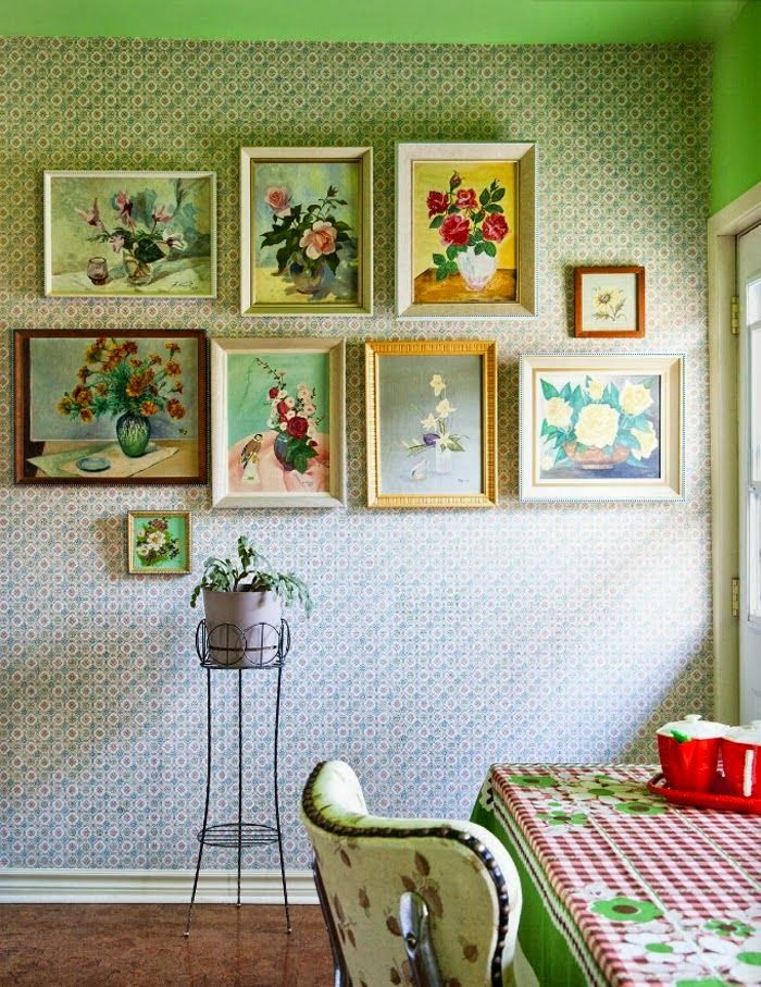 ✿ etsy bluefolkhome says ✿: THIS IS SO VERY PRETTY! Just love the way this collection of vintage framed rose pictures are displayed together.  And in a kitchen!  Fab!  :)