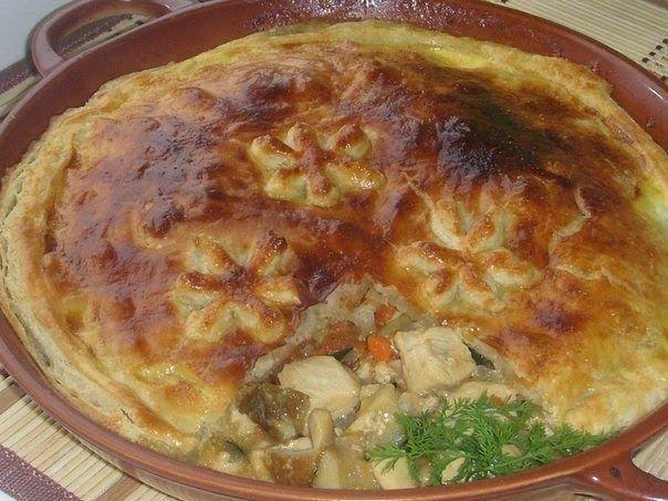 Курица с грибами под хрустящей вкусной корочкой