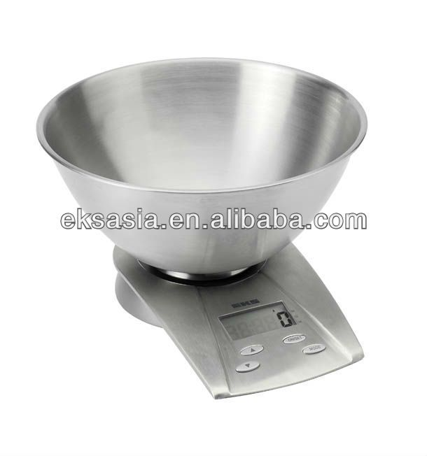 (8233SS) Kitchen Scale with Stainless Steel finish and bowl, Electronic Kitchen Scale