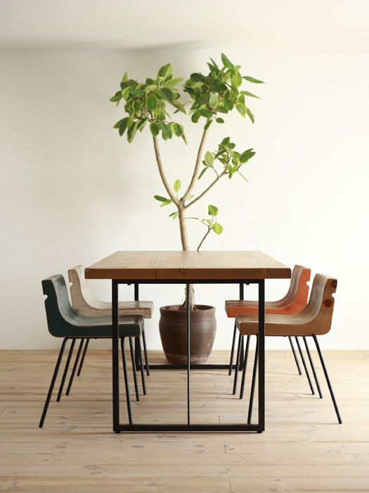 ooh and these chairs -- GALA steel table leg (custom order) - Hiromatsu online shop