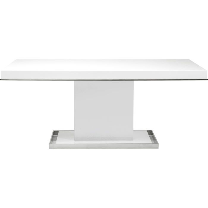 Table Vanity White 180x90cm - KARE Design an elegant table in glossy white with chrome frame. A first class furniture lifting your living or dining room. #kare #karedesign #table #white glossy #shine #luxury #elegant #laquered #furniture #interior #dream #vanity #weiß #hochglanz #luxus #tisch #esszimmer #wohnzimmer #livingroom #diningroom