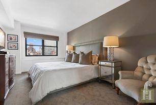 Transitional Master Bedroom with Restoration Hardware Vallette Upholstered Chair, Carpet, High ceiling