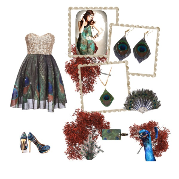 There are so many options to match this real peacock feathers set! Pair them with gilded accessories to glam it up and there you have it; a chic, fun and colourful outfit!  Restrain yourself to 3 reminders though you do not want to go overboard neither!